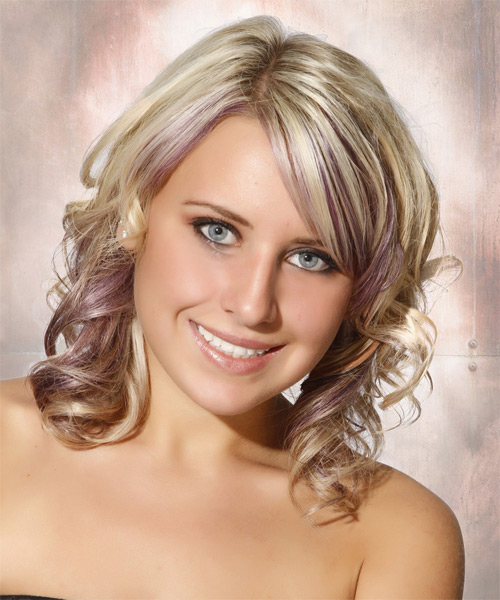 Medium Curly Formal Hairstyle with Side Swept Bangs - Light Blonde (Ash) Hair Color - side view