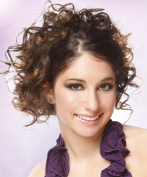 Updo Long Curly Casual  - Medium Brunette - side view