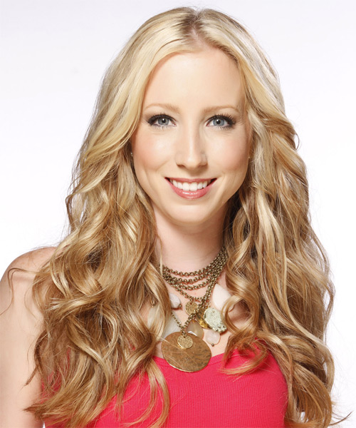 Long Wavy Casual Hairstyle - Medium Blonde (Caramel) Hair Color - side view