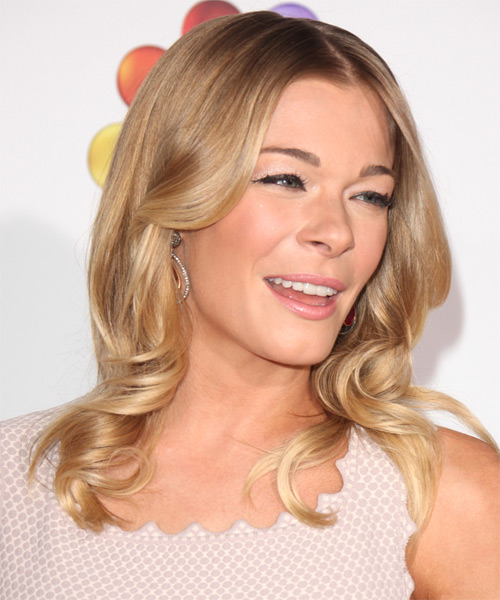Leann Rimes Long Wavy Formal Hairstyle - Medium Blonde (Honey) - side view