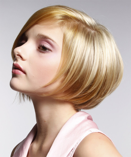 Short Straight Formal Bob Hairstyle with Side Swept Bangs - Medium Blonde Hair Color - side view