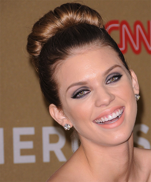 AnnaLynne McCord Updo Long Straight Formal Wedding - Light Brunette (Golden) - side view