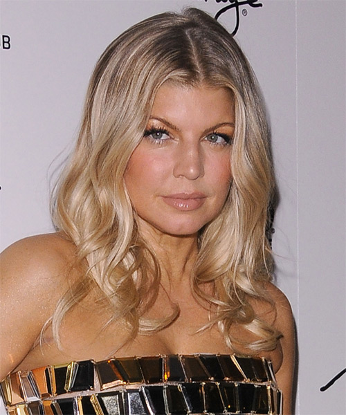 Fergie Long Straight Hairstyle - Medium Blonde (Champagne) - side view