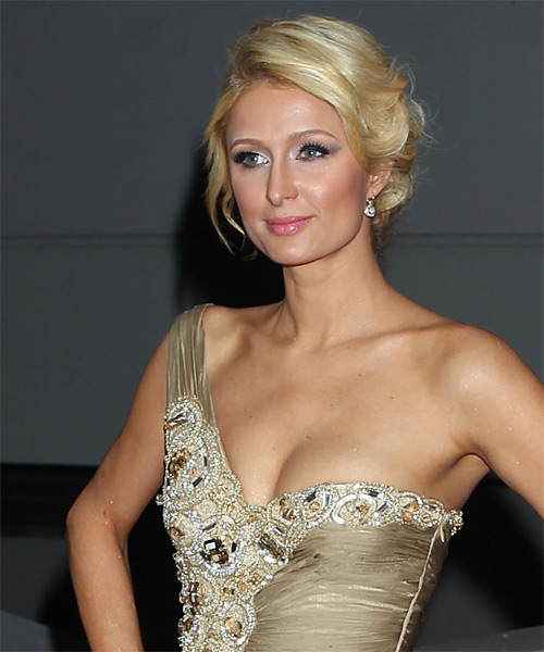 Paris Hilton Updo Long Straight Casual  - Light Blonde (Golden) - side view