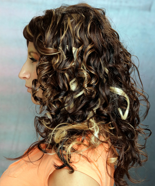 Long Curly Formal  (Mocha) - side view