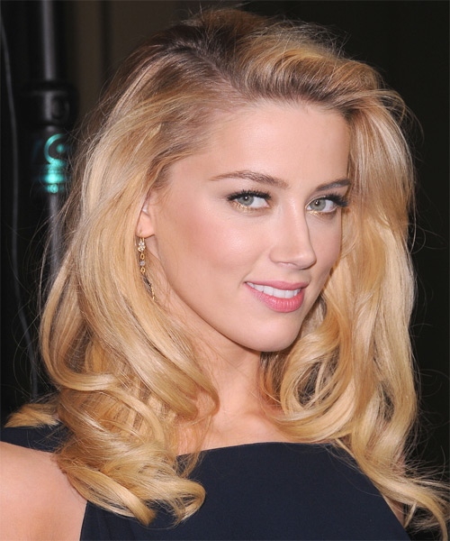 Amber Heard Long Wavy Formal Hairstyle - Medium Blonde (Honey) Hair Color - side view