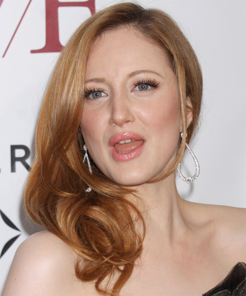 Andrea Riseborough  Long Straight Formal Hairstyle - Medium Brunette (Copper) Hair Color - side view