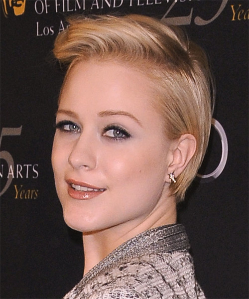 Evan Rachel Wood Short Straight Hairstyle - Medium Blonde (Golden) - side view