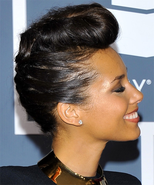 Alicia Keys Straight Formal Updo Emo Hairstyle - Black Hair Color - side view