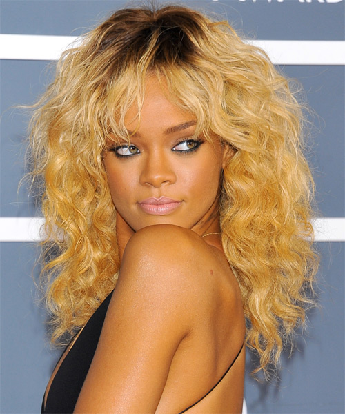 Rihanna Medium Wavy Casual Shag Hairstyle with Layered Bangs - Medium Blonde (Golden) Hair Color - side view