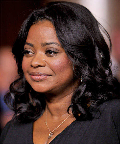 Octavia Spencer Medium Wavy Formal  - Black - side view