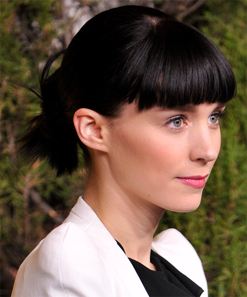 Rooney Mara Updo Long Straight Casual  with Blunt Cut Bangs - Black - side view