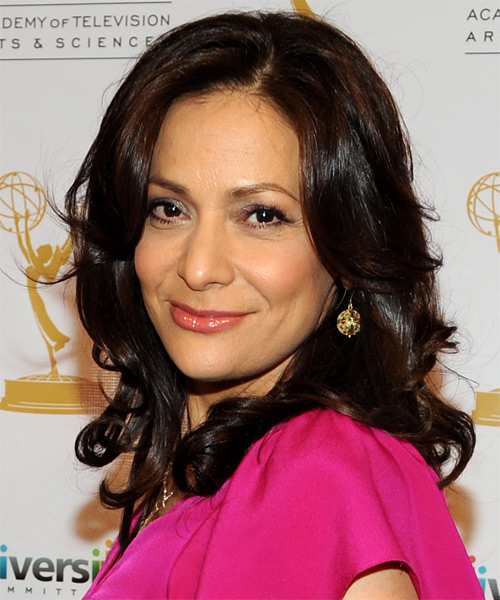 Constance Marie Medium Wavy Formal Hairstyle - Dark Brunette Hair Color - side view