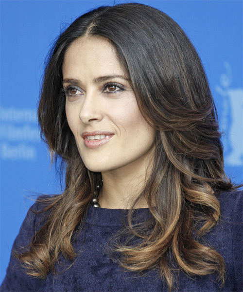 Salma Hayek Long Wavy Hairstyle - Black - side view