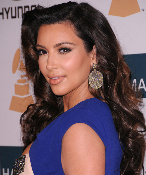 Kim Kardashian Long Wavy Formal Hairstyle - Black (Auburn) Hair Color - side view