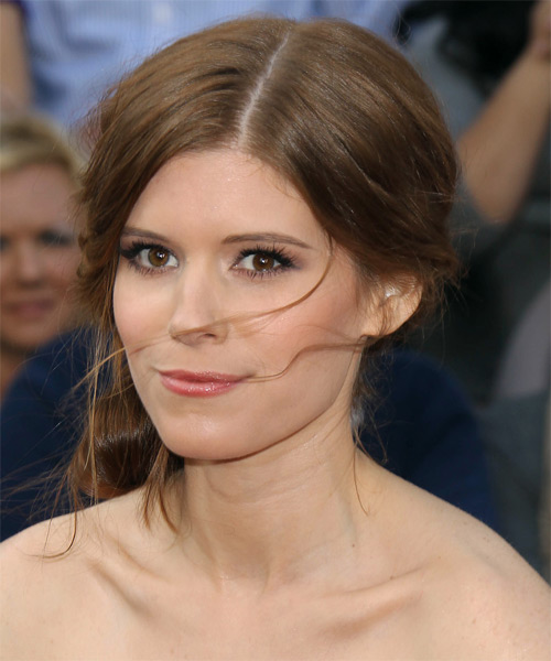 Kate Mara Formal Curly Updo Hairstyle - Medium Brunette - side view