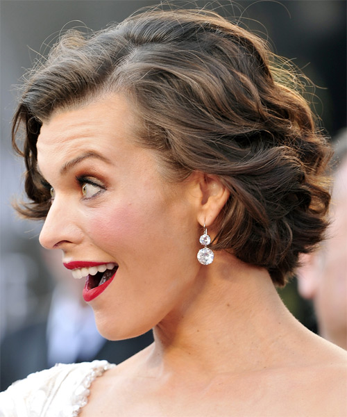 Milla Jovovich Short Wavy Formal Bob Hairstyle - Light Brunette Hair Color - side view