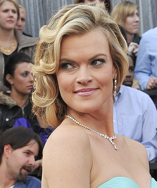 Missi Pyle Curly Formal Updo Hairstyle - Medium Blonde Hair Color - side view