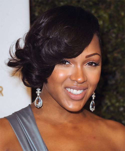 Meagan Good Short Wavy Formal Hairstyle - Black - side view