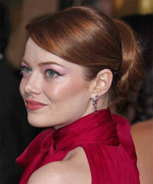 Emma Stone Straight Formal Updo Hairstyle with Side Swept Bangs - Dark Red (Auburn) Hair Color - side view