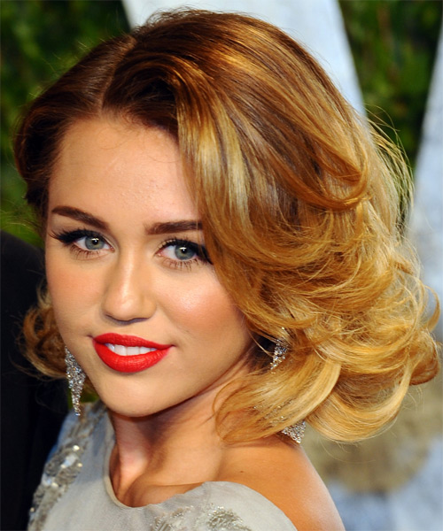 Miley Cyrus Medium Wavy Formal Hairstyle - Medium Blonde (Golden) Hair Color - side view