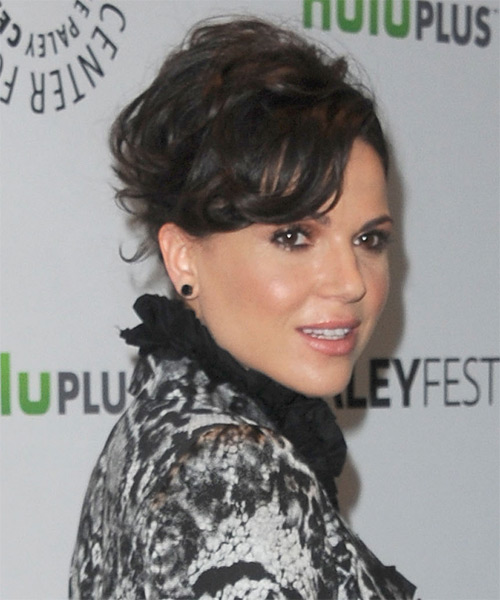 Lana Parrilla Updo Long Curly Formal Wedding with Side Swept Bangs - Black - side view