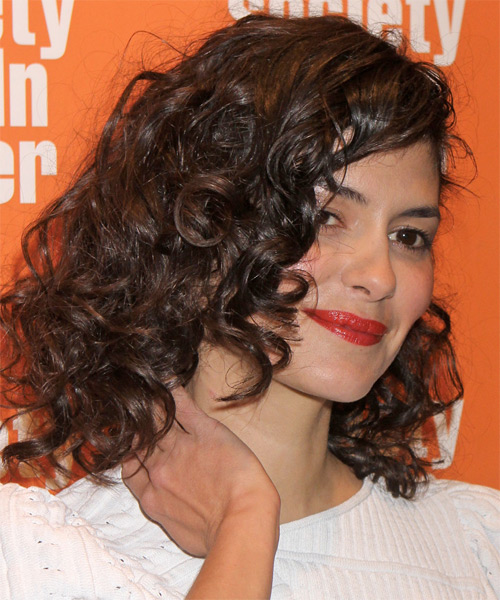 Audrey Tautou  Medium Curly Hairstyle - Medium Brunette (Chocolate) - side view