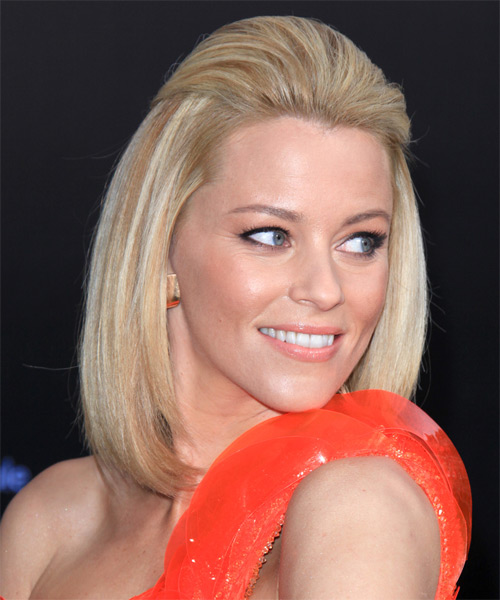 Elizabeth Banks Half Up Medium Straight Bob Hairstyle - side view 1