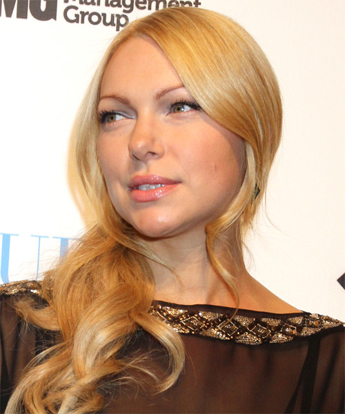 Laura Prepon Long Wavy Hairstyle - Light Blonde (Golden) - side view