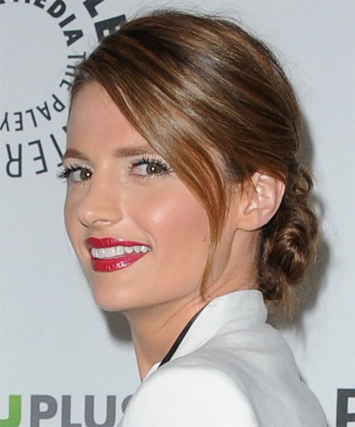 Stana Katic Straight Formal Updo Hairstyle with Side Swept Bangs - Medium Brunette Hair Color - side view
