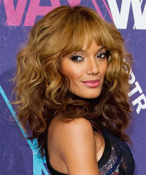 Selita Ebanks Long Curly Hairstyle - Light Brunette (Golden) - side view