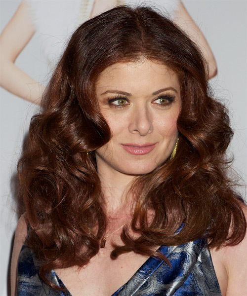 Debra Messing Long Wavy Hairstyle - Dark Red (Auburn) - side view 1