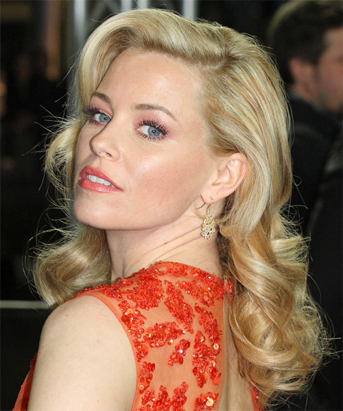 Elizabeth Banks Long Wavy Hairstyle - Light Blonde (Golden) - side view