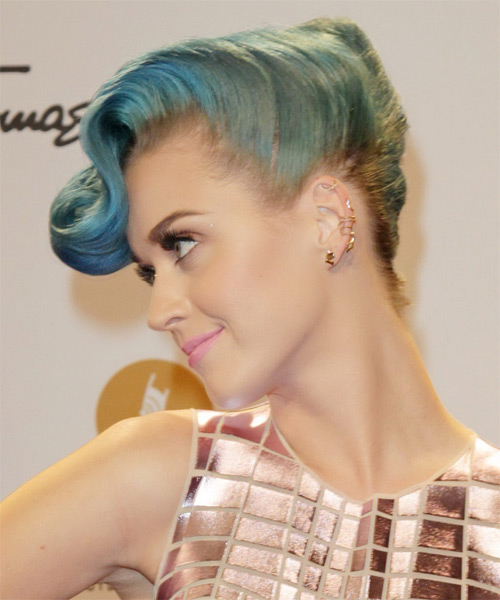 Katy Perry Curly Formal Updo Emo Hairstyle - Blue Hair Color - side view
