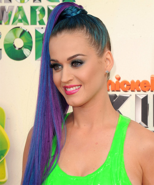 Katy Perry Long Straight Blue Updo with a high ponytail