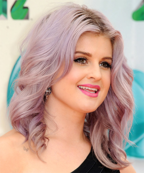 Kelly Osbourne Medium Straight Casual Hairstyle - Pink Hair Color - side view