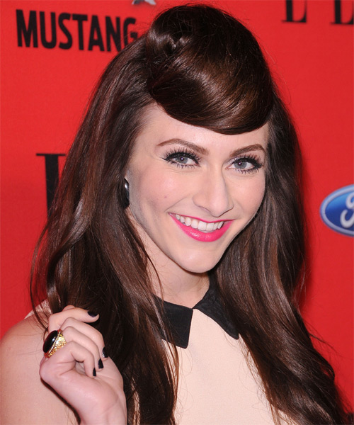 Amy Heidemann Long Straight Alternative Hairstyle - Dark Brunette (Chocolate) Hair Color - side view