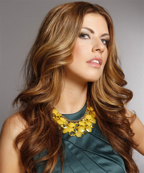 Long Wavy Formal Hairstyle - Medium Brunette (Caramel) Hair Color - side view
