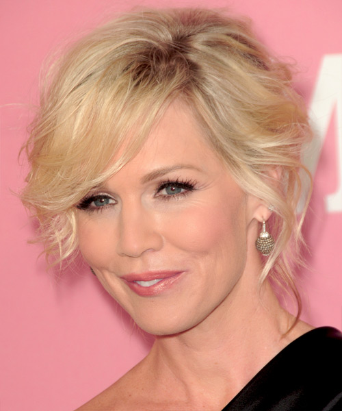 Jennie Garth Curly Formal Updo Hairstyle with Side Swept Bangs - Light Blonde Hair Color - side view