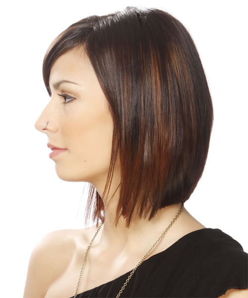 Short Straight Formal Hairstyle - Medium Brunette (Chocolate) - side view