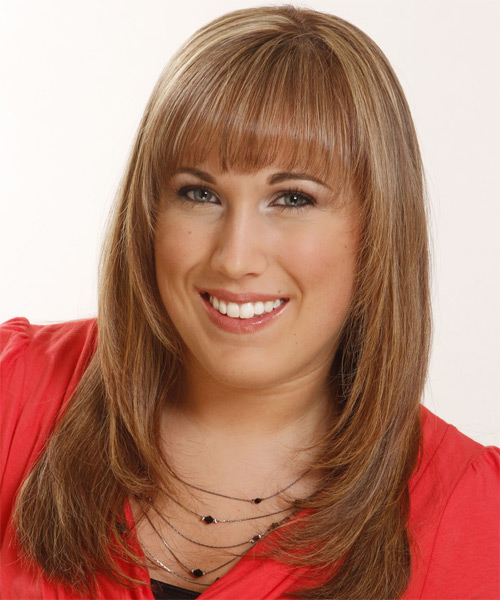 Long Straight Formal Hairstyle with Layered Bangs - Light Brunette (Copper) Hair Color - side view