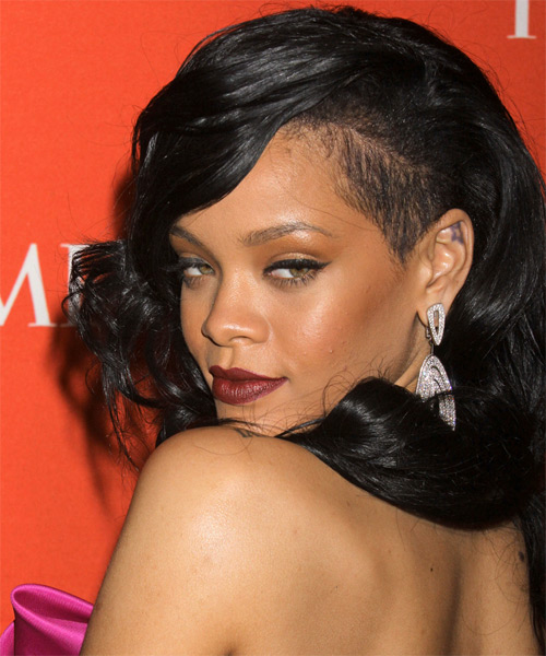 Rihanna Long Wavy Formal Hairstyle - Black Hair Color - side view