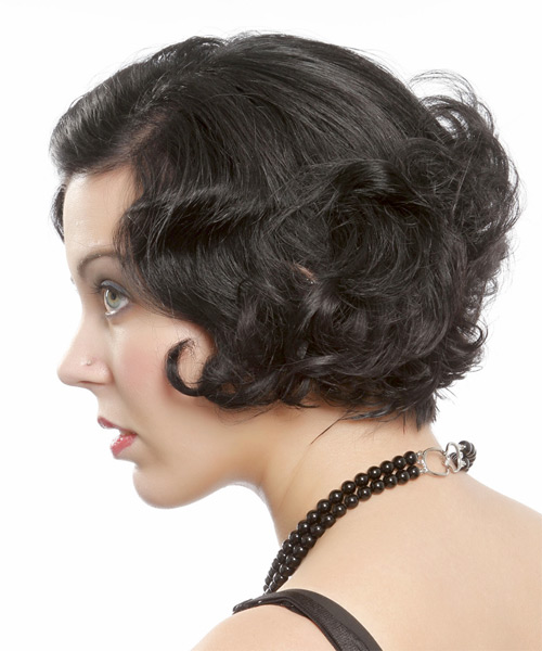 Short Curly Formal Bob Hairstyle - Black - side view 1