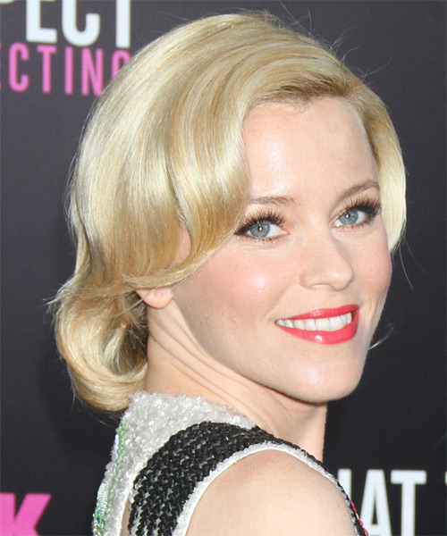 Elizabeth Banks Short Wavy Casual Bob Hairstyle with Side Swept Bangs - Medium Blonde Hair Color - side view