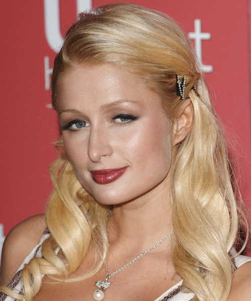 Paris Hilton Half Up Long Curly Formal Half Up Hairstyle - Medium Blonde (Honey) Hair Color - side view