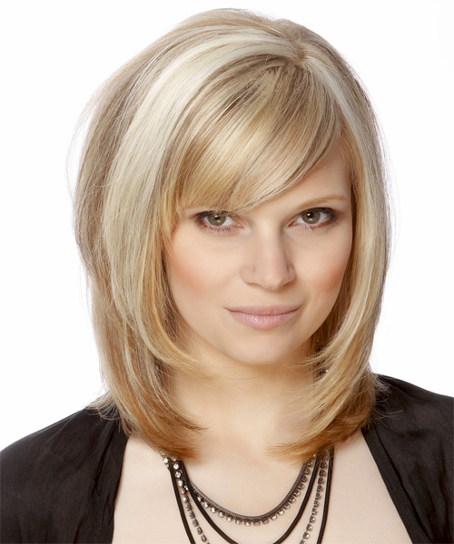 Medium Straight Formal Hairstyle - Light Blonde (Champagne) - side view 1