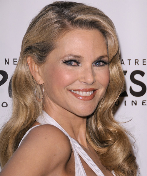 Christie Brinkley Long Wavy Formal Hairstyle - Medium Blonde (Champagne) Hair Color - side view