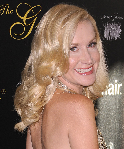 Angela Kinsey Medium Wavy Formal Hairstyle - Light Blonde (Champagne) Hair Color - side view
