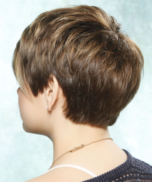 Short Straight Casual Hairstyle with Side Swept Bangs - Light Brunette Hair Color - side view