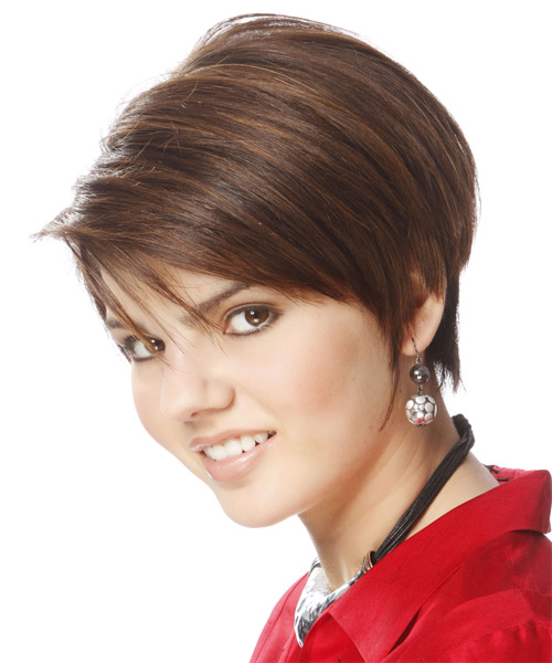 Short Straight Formal Hairstyle with Side Swept Bangs - Light Brunette Hair Color - side view